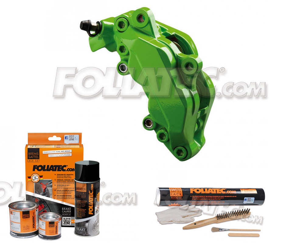 Foliatec Bremssattellack-Set power green/powergrün + Montageset