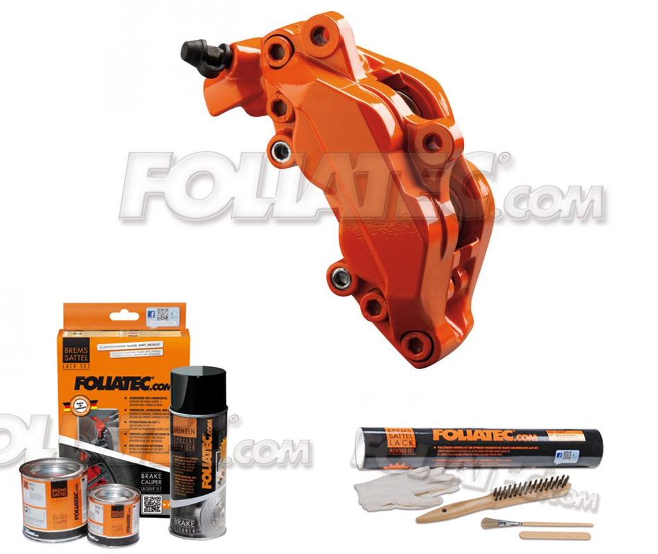 Foliatec Bremssattellack-Set flame orange + Montageset