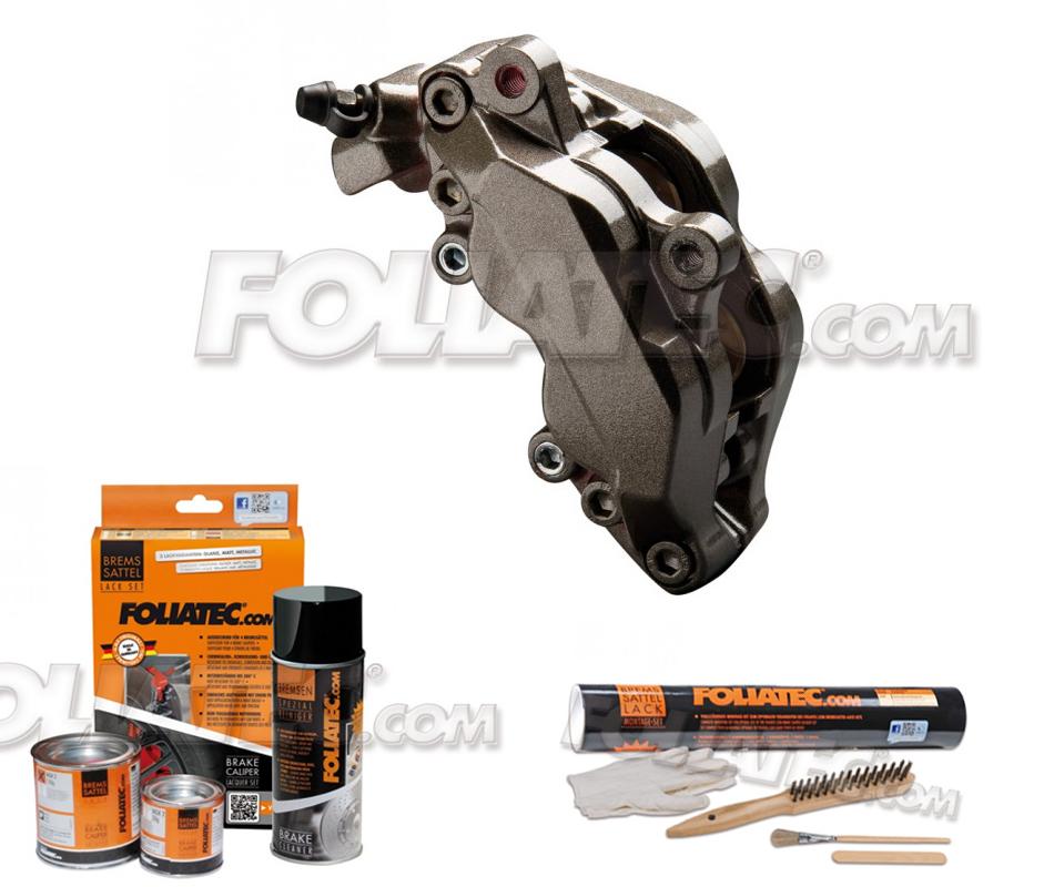 Foliatec Bremssattellack-Set carbon/grau metallic + Montageset