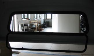 Frontklappfenster für Hardtop, Alu-Rahmen mit E-glass, verschließbar