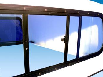 Frontschiebefenster/Schiebefenster für Hardtop, Alu-Rahmen mit E-glass