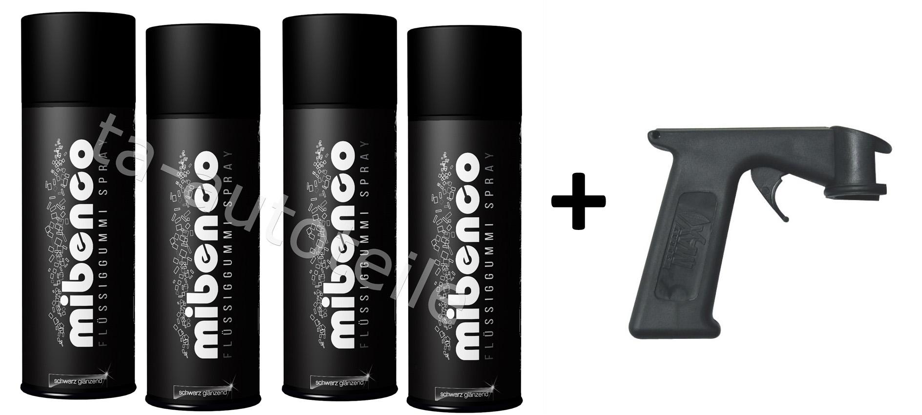 Mibenco SPRÜHFOLIE Felgenfolie Flüssiggummi schwarz glänzend 4x400ml +Sprühgriff