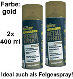 Plasti Dip it SPRÜHFOLIE Felgenfolie Flüssiggummi gold metallic 2x 400ml