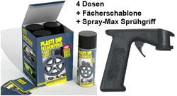 Plasti Dip it SPRÜHFOLIE Felgenfolie schwarz matt 4x 400ml + Spray-Max