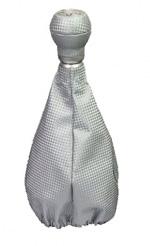 raid Schaltset: Alu-Schaltknauf +Carbon-Leder-Manschette silber, universal